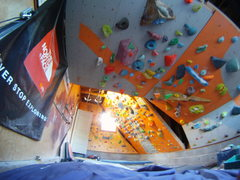Rock Climbing Photo: 45 degree3 wall in the background and the roof in ...