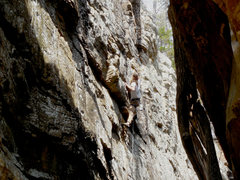 Rock Climbing Photo: Al over the crux of HBPP