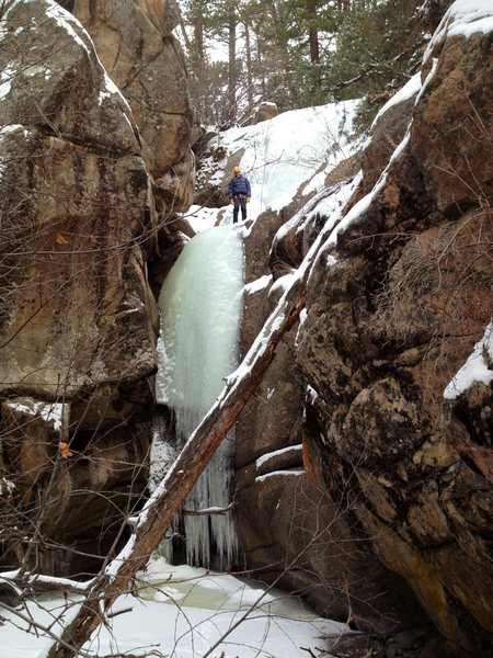 "Rock Climbing Photo: 5'8"" person for scale. Upper flow is 10' behi..."