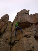 Rock Climbing Photo: Opening move and crux.