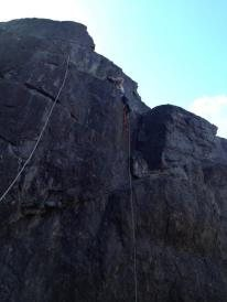 Michael Dorame leads a first ascent on Diagon Alley, a 5.6 lead route in Horshoe Canyon area at Auburn Quarry