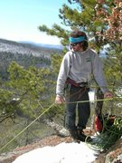 "Rock Climbing Photo: Jon (Chinos) at the belay ledge atop ""Spirit ..."