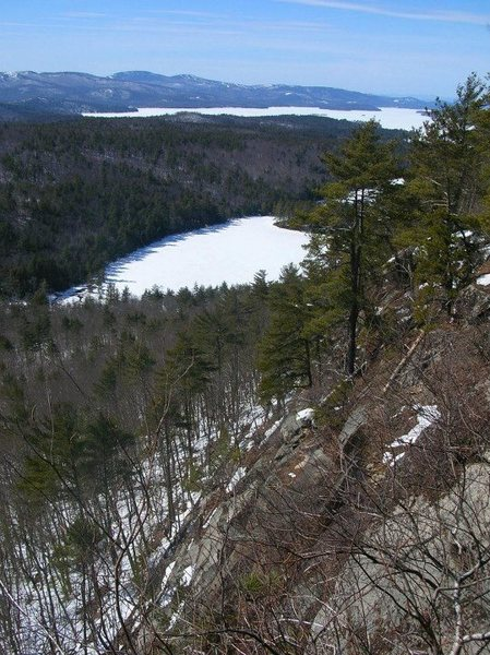 View of Lake Winnipesaukee and Knights Pond from the top of the Big Wall section.