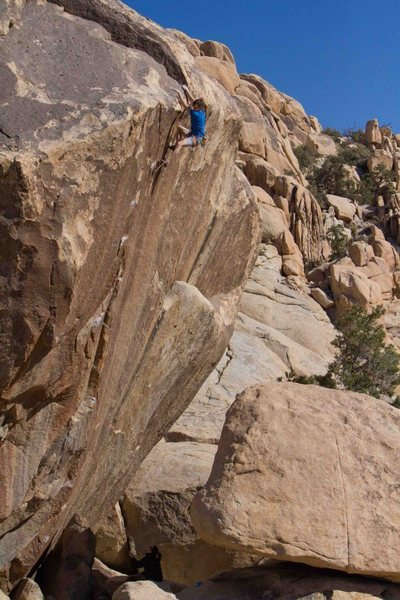 The very long time coming third ascent of Leavitt's Hot Pants, 5.13 by Alan Moore.  Photo by Cole Gibson