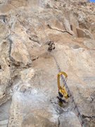 Rock Climbing Photo: Looking up at 5th bolt while rebolting the 4th bol...