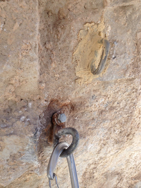 Rock Climbing Photo: Out with the old and in with the new. 5th bolt on ...