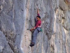 Rock Climbing Photo: Every micrometer. Marie Rhana 6c+