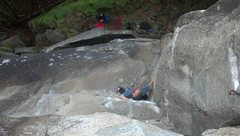Rock Climbing Photo: The trickery. Entering the crux of Friendly Fire (...