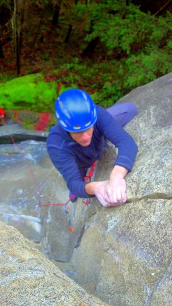 Rock Climbing Photo: Finish moves on Friendly Fire 10c.