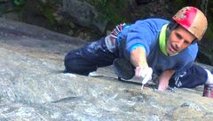 Rock Climbing Photo: Crux region of P1 (10b) of the Zipper.
