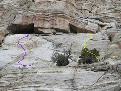 Rock Climbing Photo: Yellow route with anchors off to the right that se...