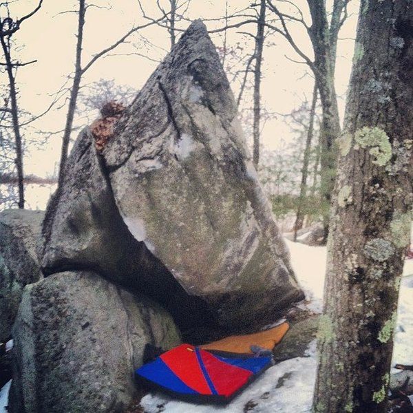 Rock Climbing Photo: Start sitting as far under the boulder as possible...