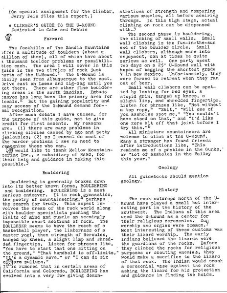 Humorous piece written for the NM Climber (Spring 1979) by Jerry Feis, manager of Backwoods which was one of two climber hangouts in the 70s, p. 1.