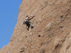 Rock Climbing Photo: A leader trying to decipher the moves through the ...