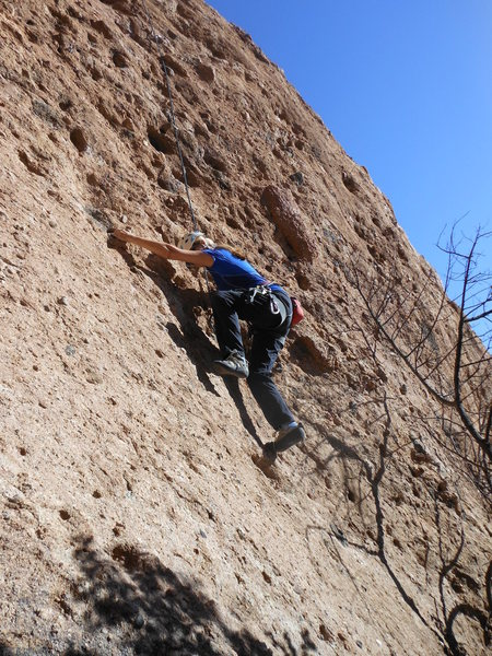 "Rock Climbing Photo: Moving up the lower slab on ""Urban Cowboy.&qu..."