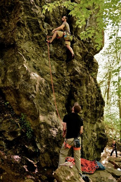 Rock Climbing Photo: jonny working this awesome route