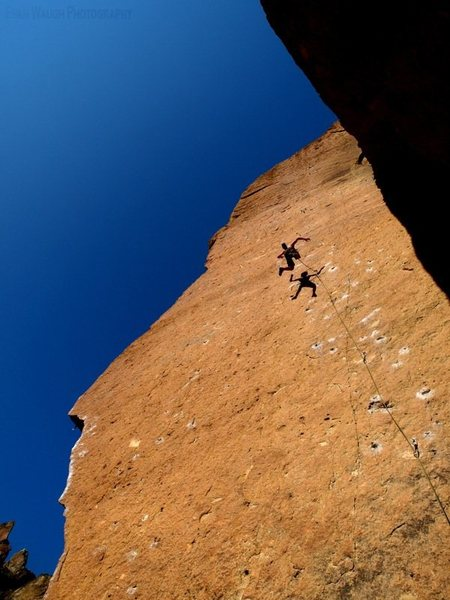 Taking a whip on Heinous Cling, a classic at Smith Rock, Oregon