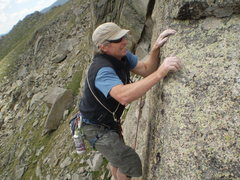 Rock Climbing Photo: Ken tops out on the FA of Emancipation Arete.