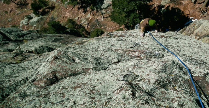 Buddy Jeff pulling the final roof of Parting Shot. A great long pitch.