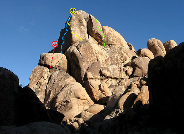 Rock Climbing Photo: Red=Chimps Fly Blue=Trembling Toto's Yellow=Doroth...