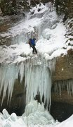 Rock Climbing Photo: First abseil. We soloed easier ice around this one...