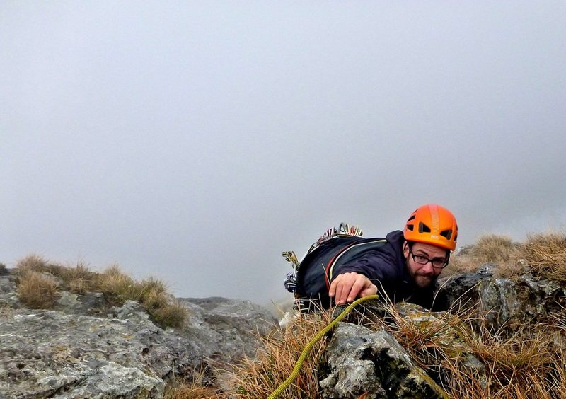 Rock Climbing Photo: 5b upper pitch in the clouds