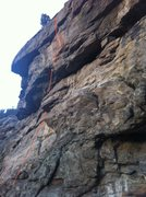 Rock Climbing Photo: Micro Chip. Climbs through the prominent, brown st...