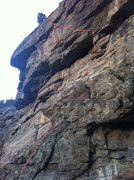 Rock Climbing Photo: The crux leftward traverse can be seen at top join...