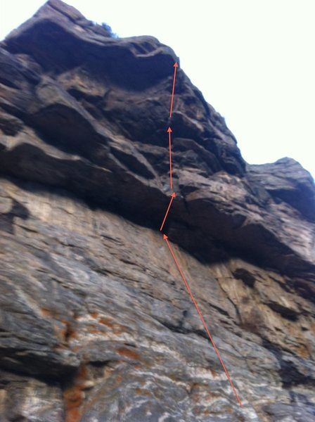 Rock Climbing Photo: Stiff Upper Lip going through the roofs and large ...