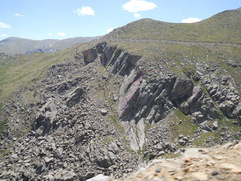 Rock Climbing Photo: Loose Bolt Slab.  (Green dot on photo, partly hidd...