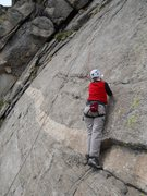Rock Climbing Photo: Marsha at the stance for the reaching the first Al...