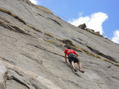 Rock Climbing Photo: The panel above the grassy ledges is the hard stuf...