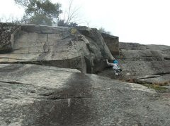 Rock Climbing Photo: Jon (Chinos) below the crux.