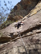 Rock Climbing Photo: Tough, sustained stemming gets you through this on...