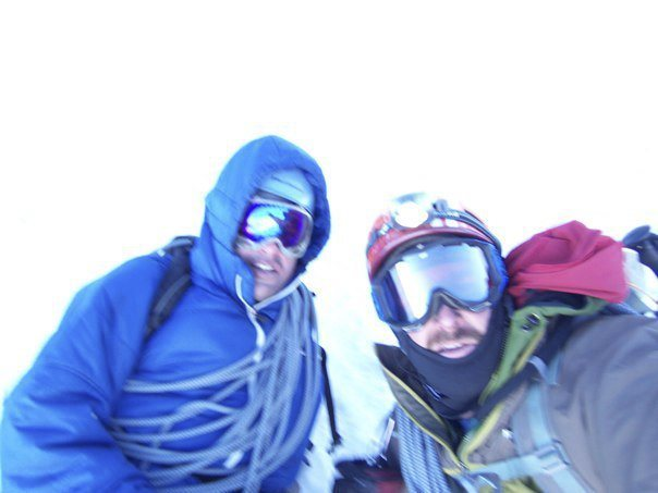 on the summit of Cotopaxi in whiteout conditions with the late and great Joe Miller