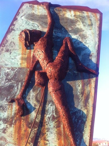 Rock Climbing Photo: scrap metal welded together, including rebar rope