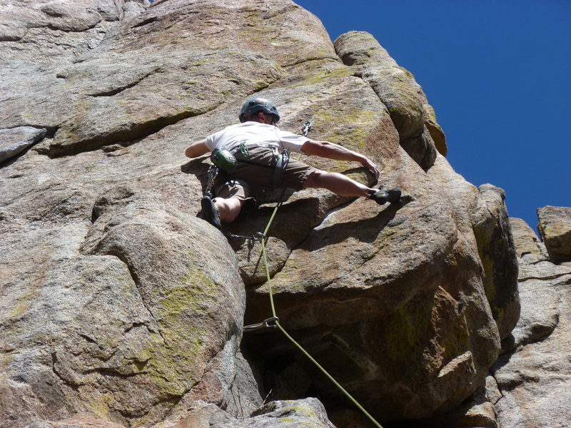 At the second bolt and crux.