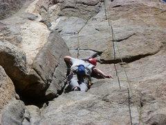 Rock Climbing Photo: Just below the crux. Bill?