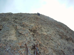Rock Climbing Photo: View from the 1st pitch anchors looking on up the ...