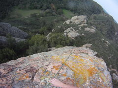 Rock Climbing Photo: View down Blue Zenith from the anchors at the to o...
