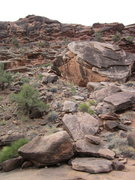 Rock Climbing Photo: the approach from the wash, including the roof and...