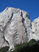 Rock Climbing Photo: Route line in red.