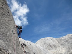 Rock Climbing Photo: Cooper on the scenic pitch 8 arete