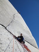 Rock Climbing Photo: The crux pitch.  Here's Cooper after the send, enj...