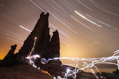 Rock Climbing Photo: 3 45 minute exposures stacked.