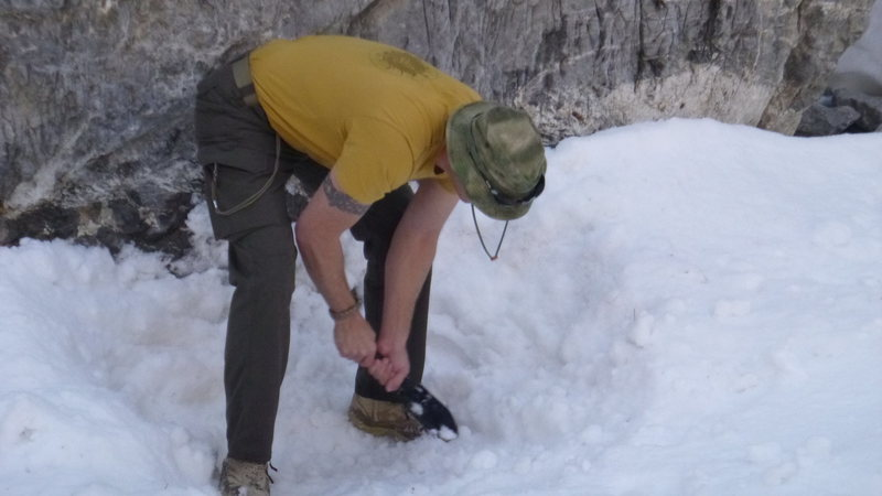 Rock Climbing Photo: Be prepared to shovel and pack your belaying base ...