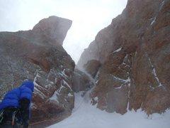 Rock Climbing Photo: Start of the climb and the first chockstone.