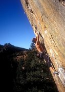 Rock Climbing Photo: KC on an early redpoint attempt. Circa early 90s. ...
