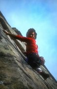 Rock Climbing Photo: KC leading Ladder Line. Circa 1985.