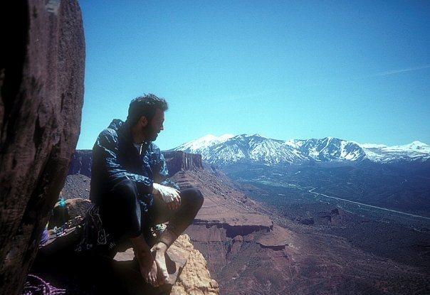 Rock Climbing Photo: KC taking soaking up the view on Fine Jade. Circa ...